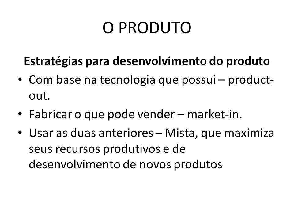 O PRODUTO Estratégias para desenvolvimento do produto Com base na tecnologia que possui – product- out. Fabricar o que pode vender – market-in. Usar a