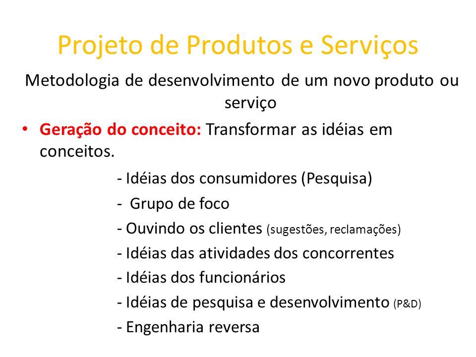 Projeto de Produtos e Serviços Metodologia de desenvolvimento de um novo produto ou serviço Geração do conceito: Transformar as idéias em conceitos. -