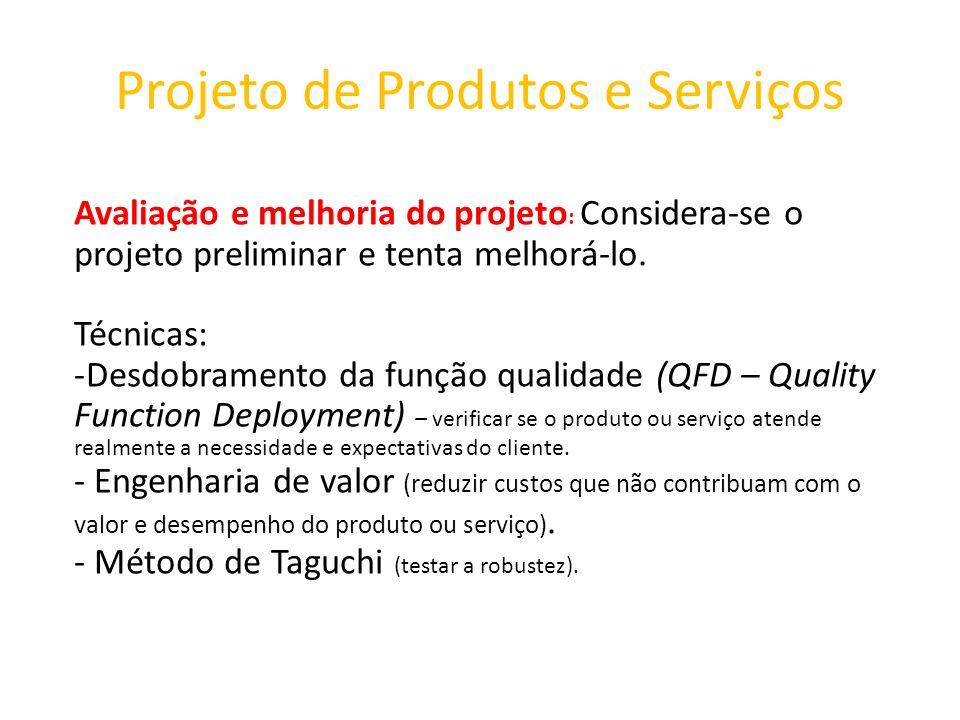 Projeto de Produtos e Serviços Avaliação e melhoria do projeto : Considera-se o projeto preliminar e tenta melhorá-lo. Técnicas: -Desdobramento da fun