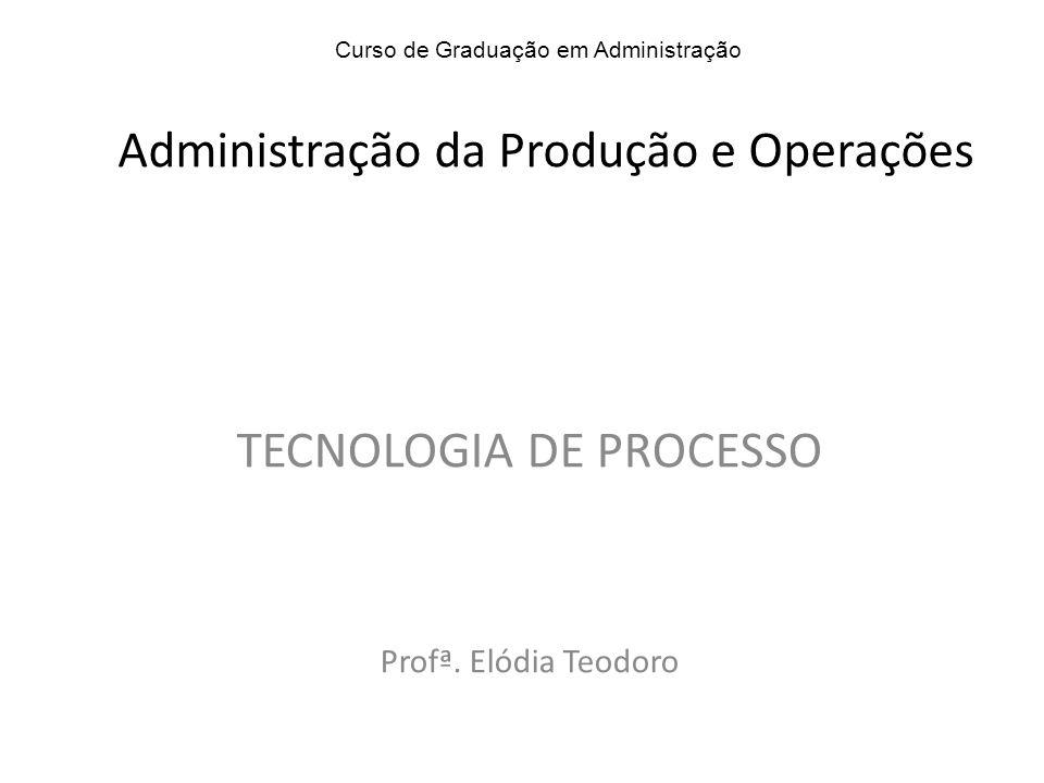 TECNOLOGIA DE PROCESSO Profª. Elódia Teodoro Curso de Graduação em Administração Administração da Produção e Operações