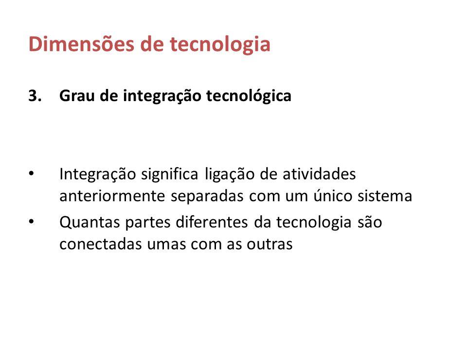 Dimensões de tecnologia 3.Grau de integração tecnológica Integração significa ligação de atividades anteriormente separadas com um único sistema Quant