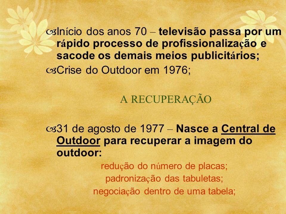 In í cio dos anos 70 – televisão passa por um r á pido processo de profissionaliza ç ão e sacode os demais meios publicit á rios; Crise do Outdoor em