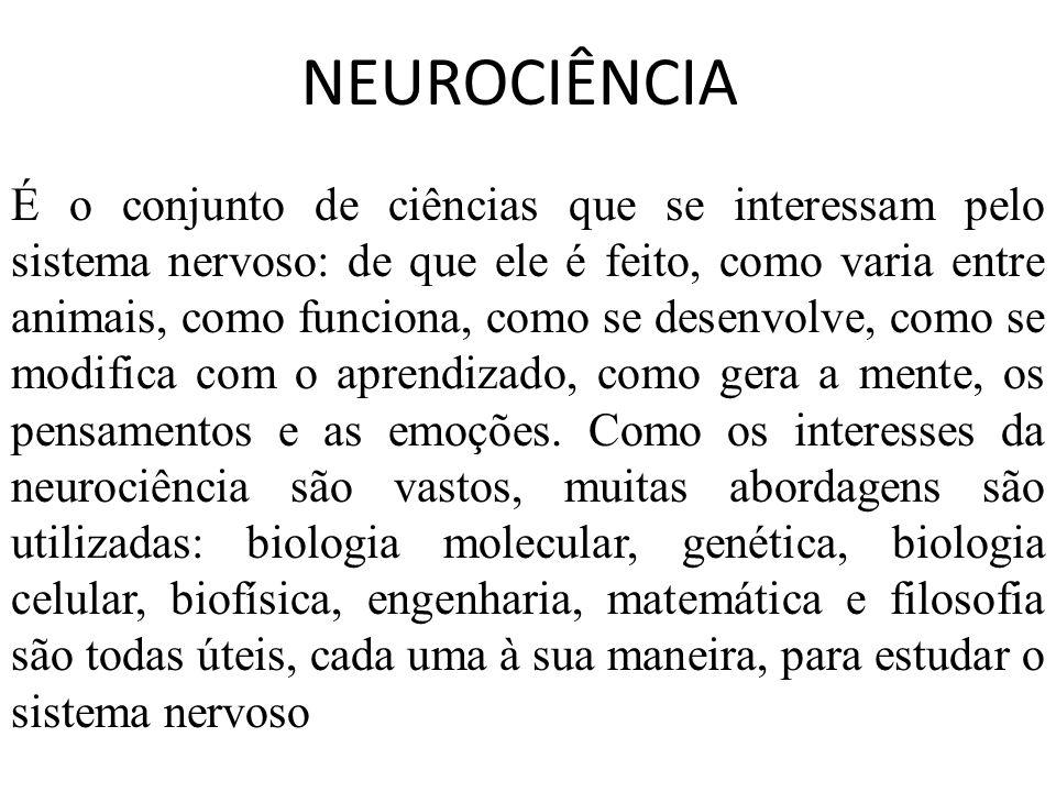 NEUROCIÊNCIA É o conjunto de ciências que se interessam pelo sistema nervoso: de que ele é feito, como varia entre animais, como funciona, como se des
