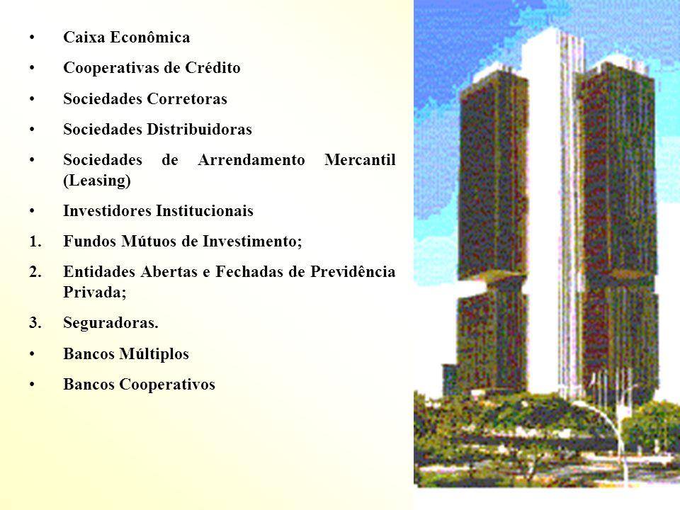 Caixa Econômica Cooperativas de Crédito Sociedades Corretoras Sociedades Distribuidoras Sociedades de Arrendamento Mercantil (Leasing) Investidores In