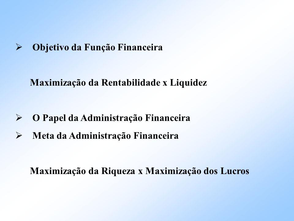 Objetivo da Função Financeira Maximização da Rentabilidade x Liquidez O Papel da Administração Financeira Meta da Administração Financeira Maximização