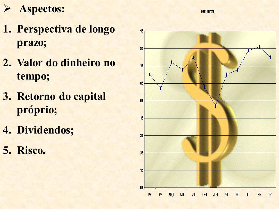 Aspectos: 1.Perspectiva de longo prazo; 2.Valor do dinheiro no tempo; 3.Retorno do capital próprio; 4.Dividendos; 5.Risco.