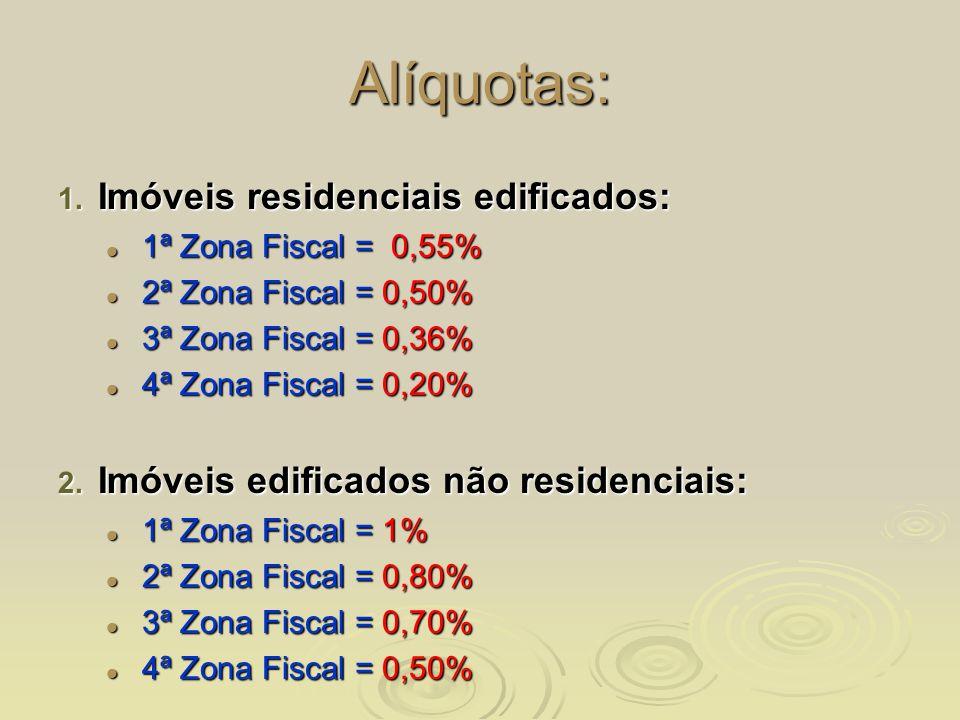 Alíquotas: 1. Imóveis residenciais edificados: 1ª Zona Fiscal = 0,55% 1ª Zona Fiscal = 0,55% 2ª Zona Fiscal = 0,50% 2ª Zona Fiscal = 0,50% 3ª Zona Fis