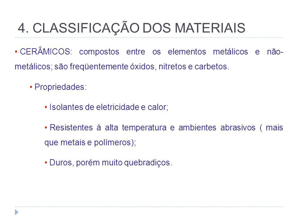 4. CLASSIFICAÇÃO DOS MATERIAIS CERÂMICOS: compostos entre os elementos metálicos e não- metálicos; são freqüentemente óxidos, nitretos e carbetos. Pro