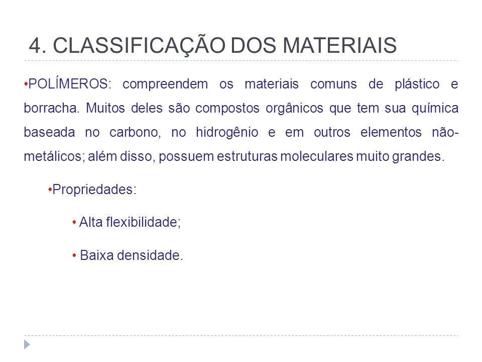 4. CLASSIFICAÇÃO DOS MATERIAIS POLÍMEROS: compreendem os materiais comuns de plástico e borracha. Muitos deles são compostos orgânicos que tem sua quí