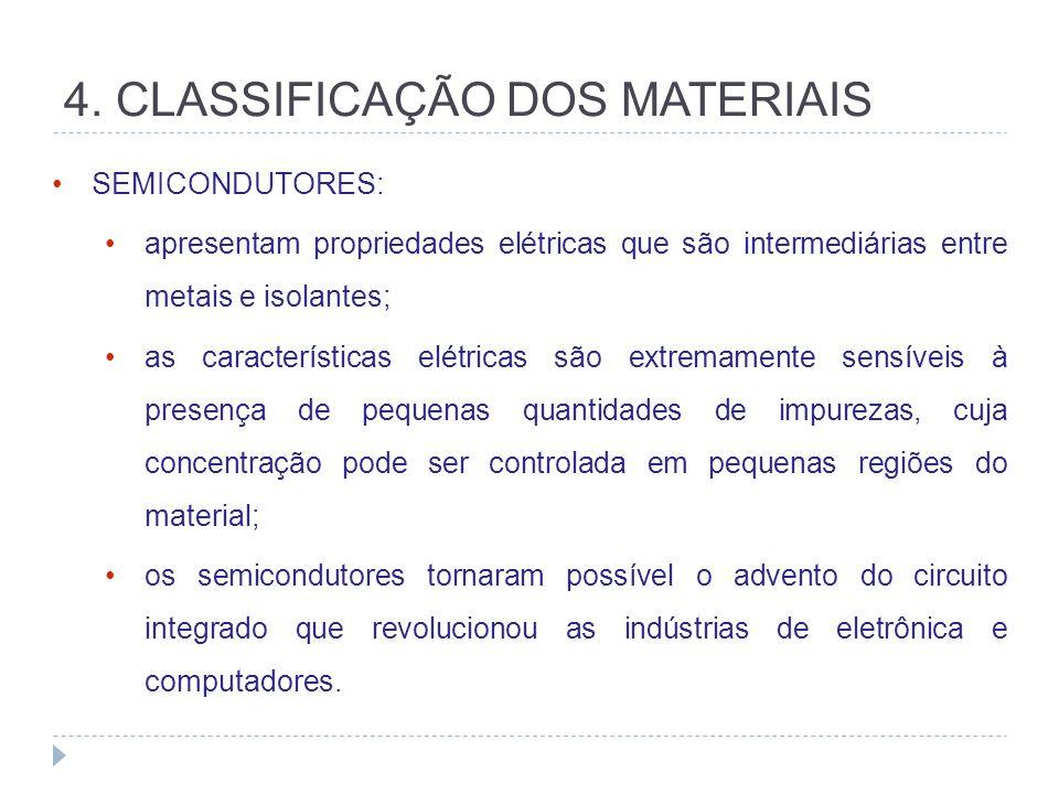 4. CLASSIFICAÇÃO DOS MATERIAIS SEMICONDUTORES: apresentam propriedades elétricas que são intermediárias entre metais e isolantes; as características e