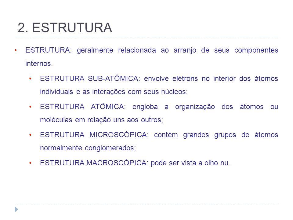 2. ESTRUTURA ESTRUTURA: geralmente relacionada ao arranjo de seus componentes internos. ESTRUTURA SUB-ATÔMICA: envolve elétrons no interior dos átomos