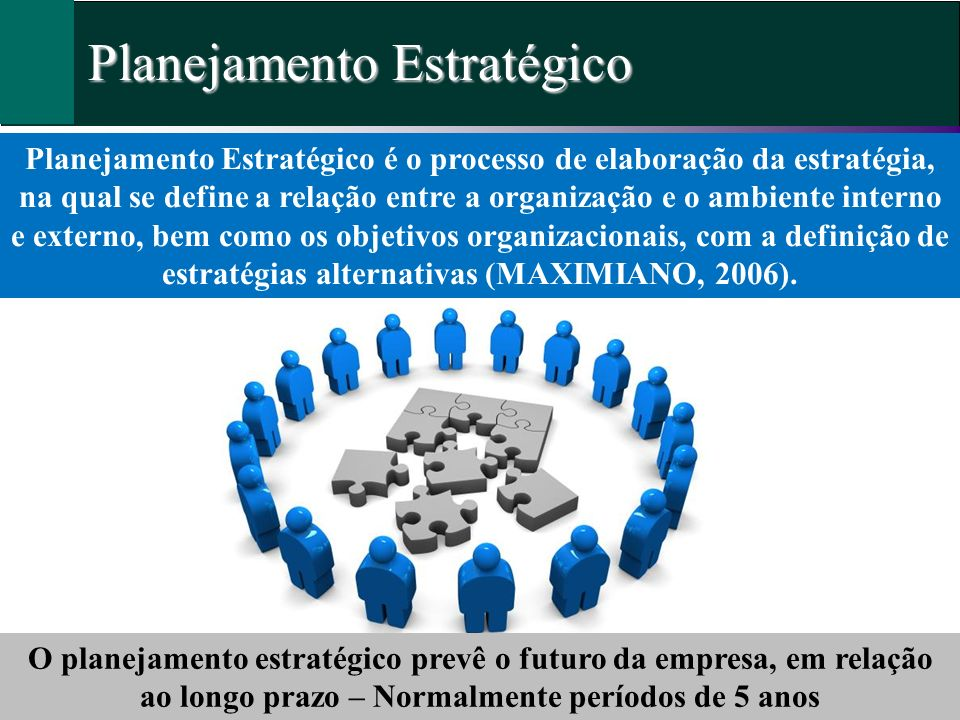 Planejamento Estratégico Planejamento Estratégico é o processo de elaboração da estratégia, na qual se define a relação entre a organização e o ambien