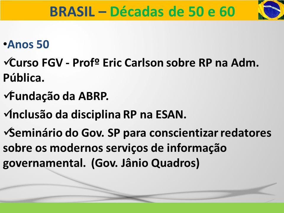 BRASIL – Décadas de 50 e 60 Anos 60 Reconhecimento da profissão pela Lei nº 5377 – 11/12/67.