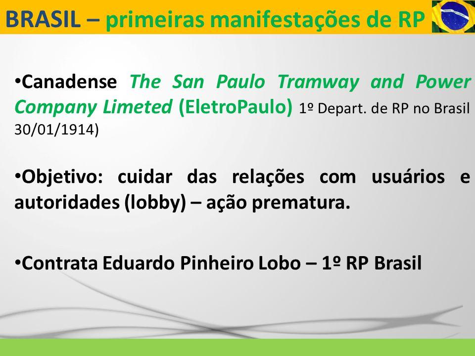 BRASIL – primeiras manifestações de RP Canadense The San Paulo Tramway and Power Company Limeted (EletroPaulo) 1º Depart. de RP no Brasil 30/01/1914)