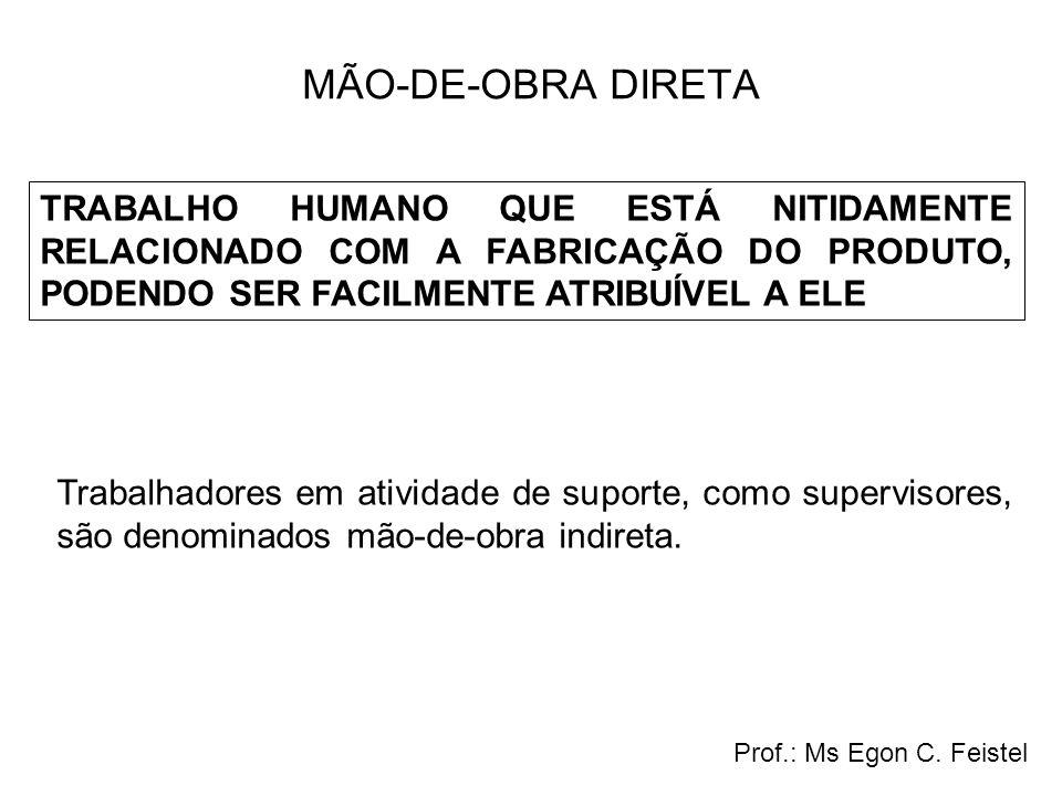 CUSTOS INDIRETOS DE FABRICAÇÃO TODOS OS OUTROS CUSTOS DE PRODUÇÃO, COM EXCEÇÃO DA MATÉRIA-PRIMA E DA MÃO-DE-OBRA DIRETA, SÃO DENOMINADOS CUSTOS INDIRETOS DE FABRICAÇÃO Prof.: Ms Egon C.