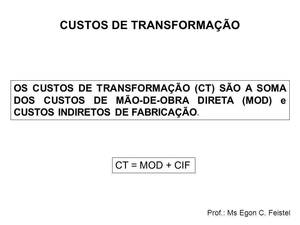 CUSTOS DE TRANSFORMAÇÃO OS CUSTOS DE TRANSFORMAÇÃO (CT) SÃO A SOMA DOS CUSTOS DE MÃO-DE-OBRA DIRETA (MOD) e CUSTOS INDIRETOS DE FABRICAÇÃO. CT = MOD +