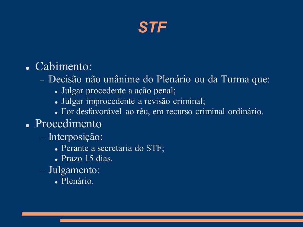 Observações Não existem embargos infringentes no STJ