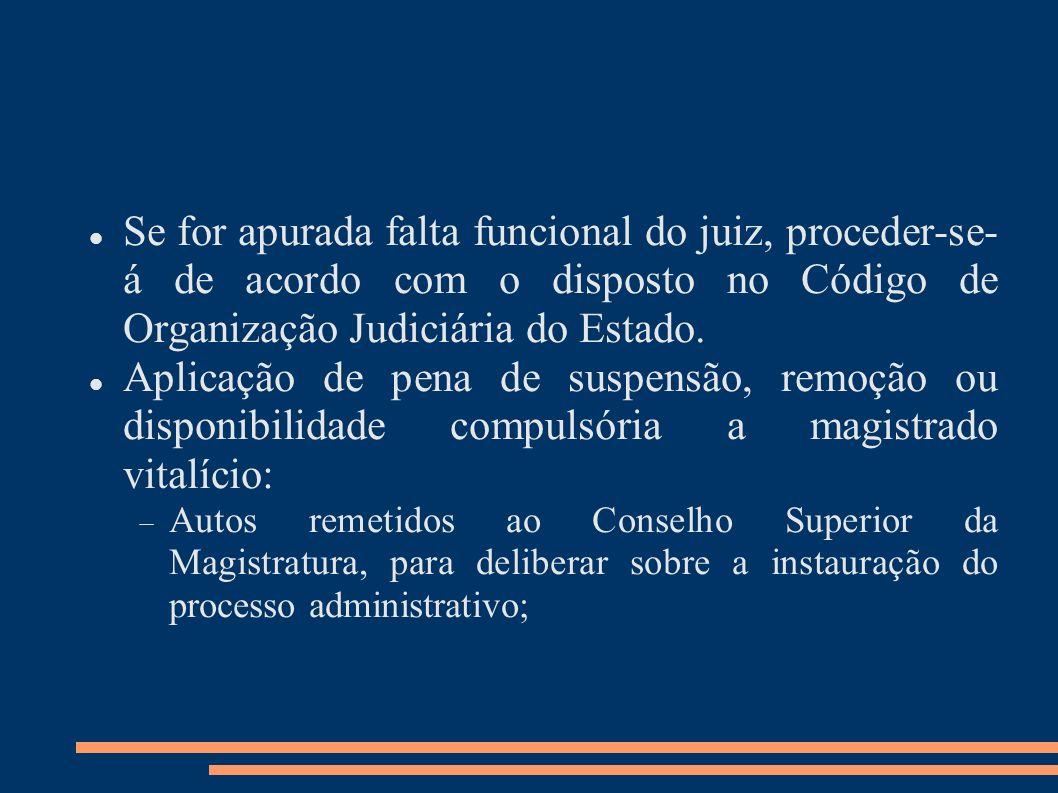 Se for apurada falta funcional do juiz, proceder-se- á de acordo com o disposto no Código de Organização Judiciária do Estado. Aplicação de pena de su
