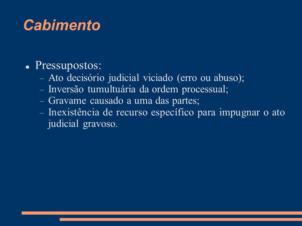 Cabimento Pressupostos: Ato decisório judicial viciado (erro ou abuso); Inversão tumultuária da ordem processual; Gravame causado a uma das partes; In