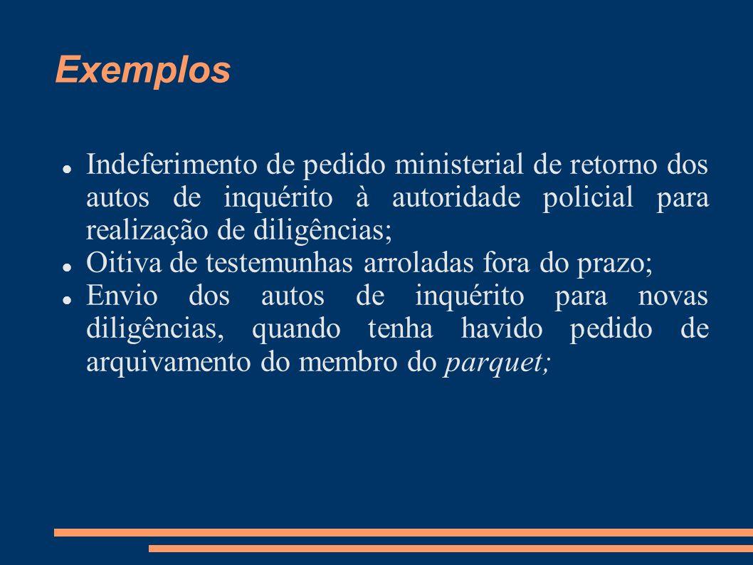 Exemplos Indeferimento de pedido ministerial de retorno dos autos de inquérito à autoridade policial para realização de diligências; Oitiva de testemu