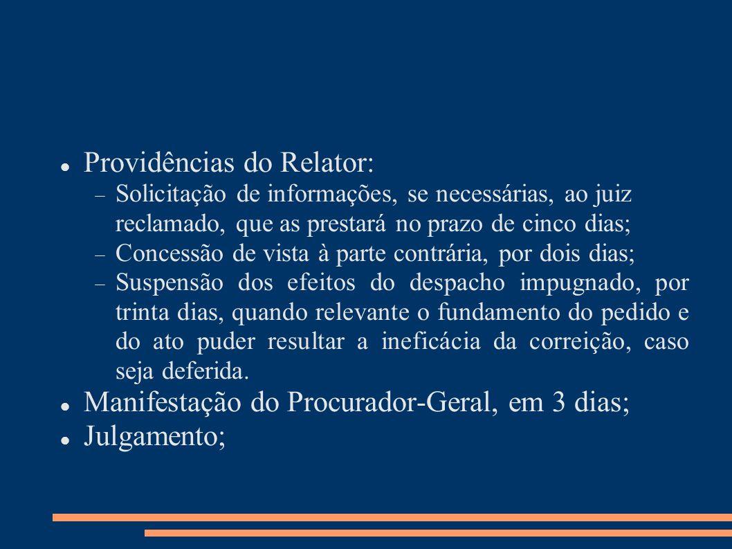 Providências do Relator: Solicitação de informações, se necessárias, ao juiz reclamado, que as prestará no prazo de cinco dias; Concessão de vista à p