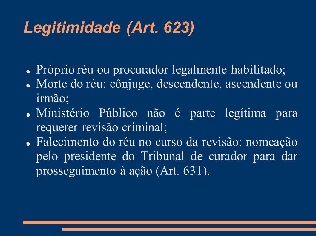 Legitimidade (Art. 623) Próprio réu ou procurador legalmente habilitado; Morte do réu: cônjuge, descendente, ascendente ou irmão; Ministério Público n