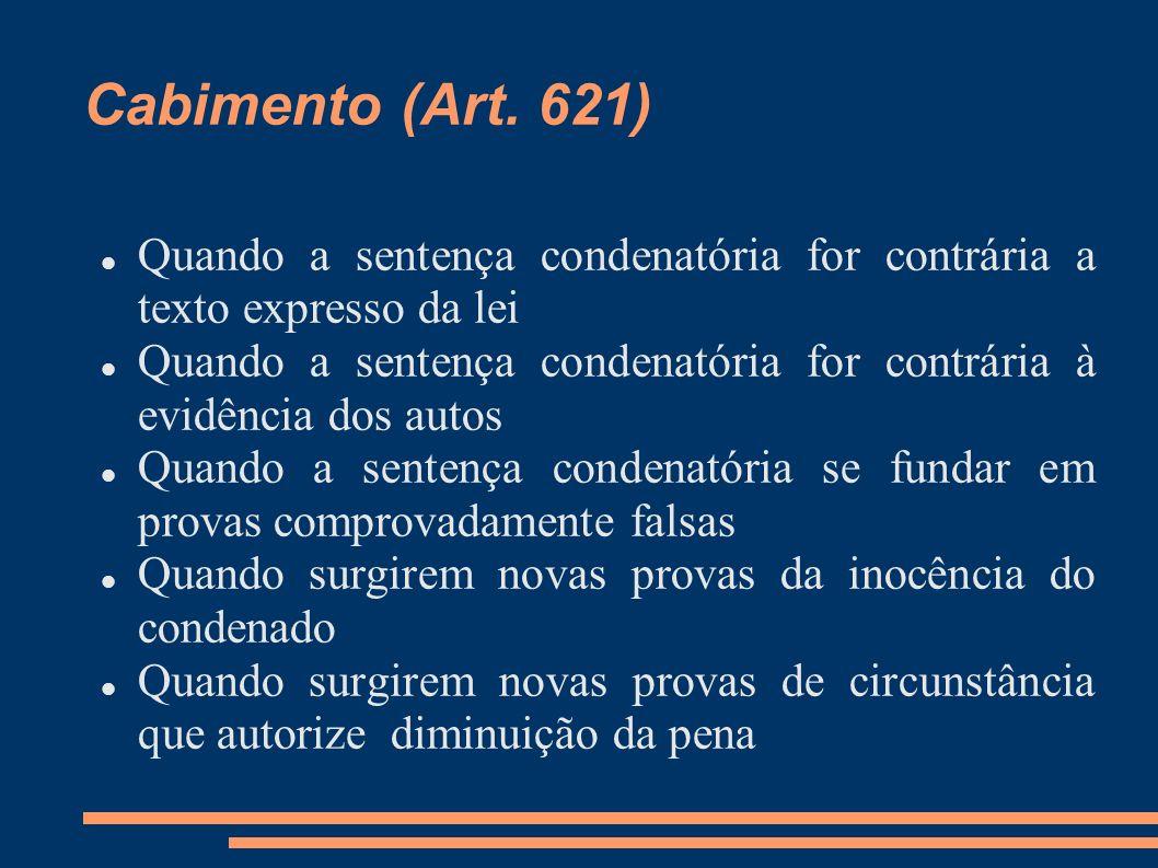Cabimento (Art. 621) Quando a sentença condenatória for contrária a texto expresso da lei Quando a sentença condenatória for contrária à evidência dos