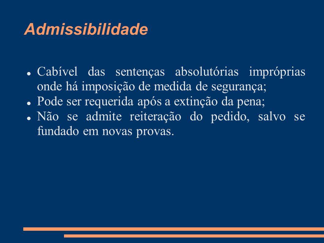 Admissibilidade Cabível das sentenças absolutórias impróprias onde há imposição de medida de segurança; Pode ser requerida após a extinção da pena; Nã