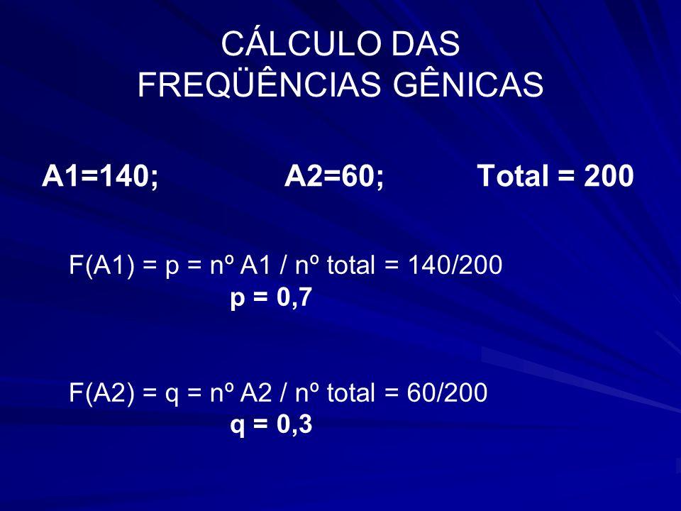 CÁLCULO DAS FREQÜÊNCIAS GÊNICAS A1=140; A2=60; Total = 200 F(A1) = p = nº A1 / nº total = 140/200 p = 0,7 F(A2) = q = nº A2 / nº total = 60/200 q = 0,