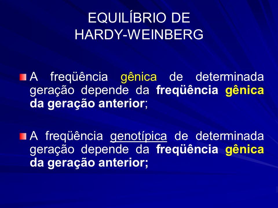 EQUILÍBRIO DE HARDY-WEINBERG A freqüência gênica de determinada geração depende da freqüência gênica da geração anterior; A freqüência genotípica de d
