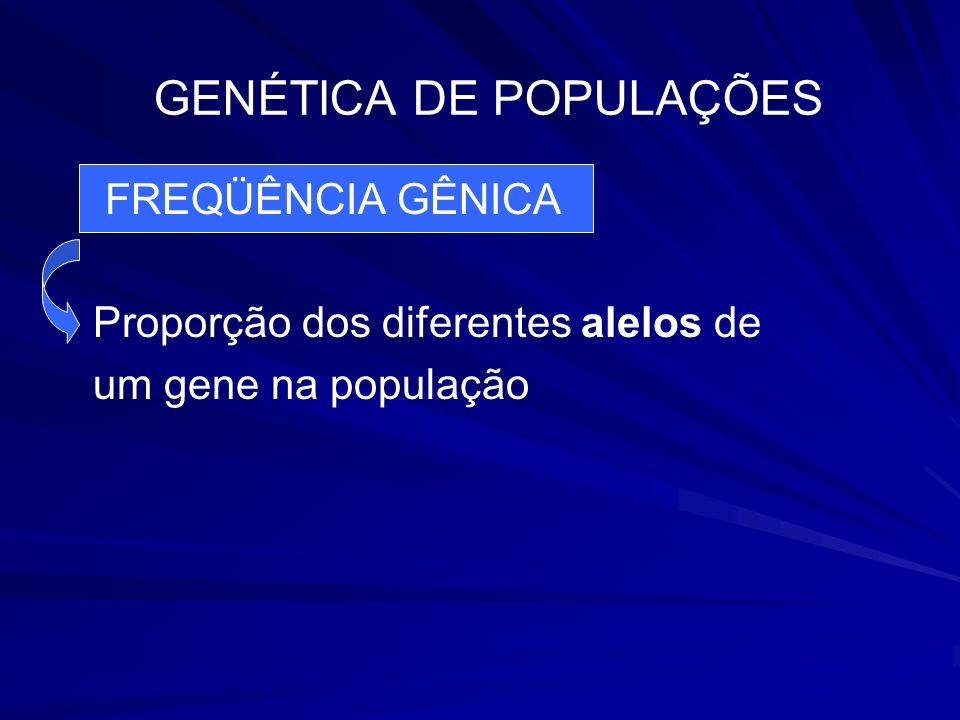 GENÉTICA DE POPULAÇÕES FREQÜÊNCIA GÊNICA Proporção dos diferentes alelos de um gene na população