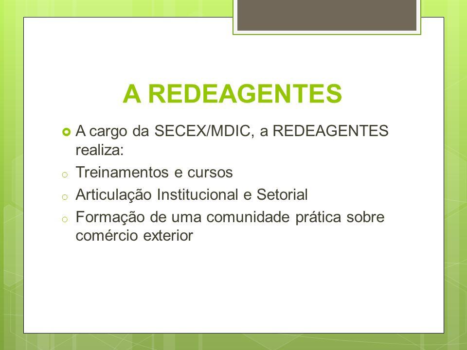 A REDEAGENTES A cargo da SECEX/MDIC, a REDEAGENTES realiza: o Treinamentos e cursos o Articulação Institucional e Setorial o Formação de uma comunidad