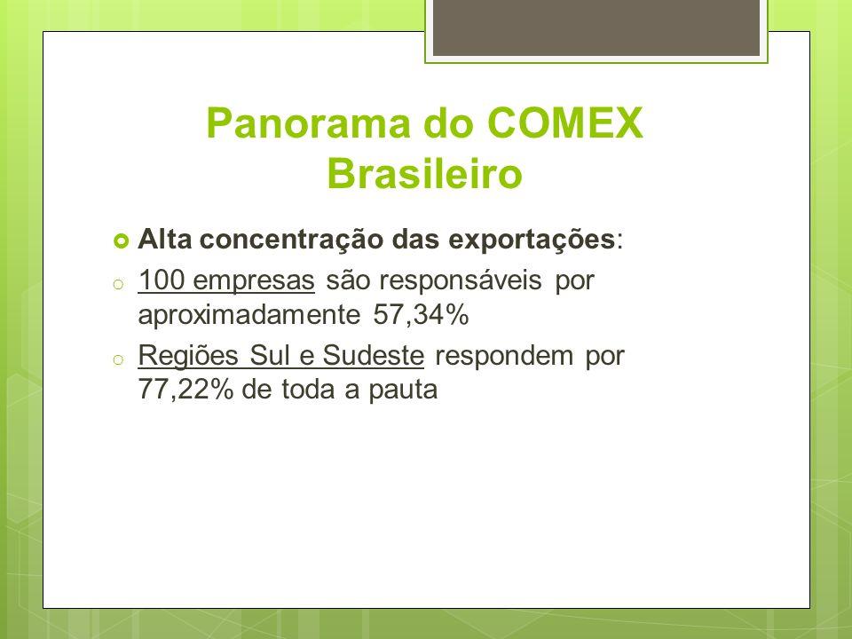 Panorama do COMEX Brasileiro Alta concentração das exportações: o 100 empresas são responsáveis por aproximadamente 57,34% o Regiões Sul e Sudeste res