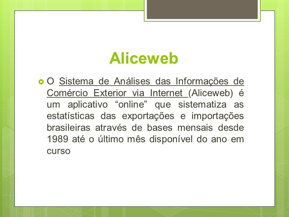 Aliceweb O Sistema de Análises das Informações de Comércio Exterior via Internet (Aliceweb) é um aplicativo online que sistematiza as estatísticas das