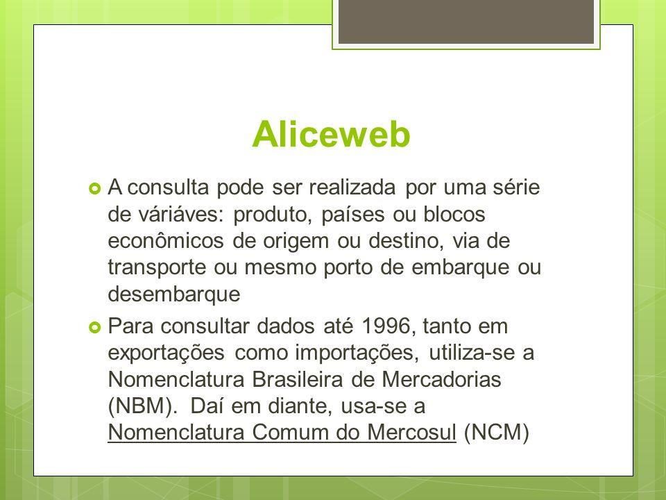 Aliceweb A consulta pode ser realizada por uma série de váriáves: produto, países ou blocos econômicos de origem ou destino, via de transporte ou mesm