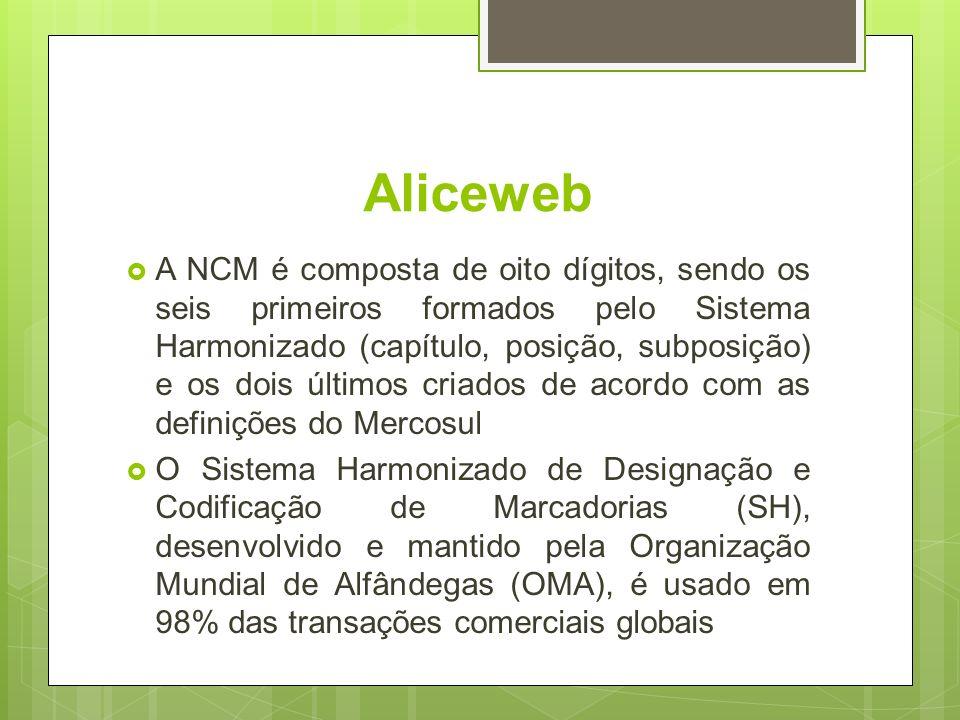 Aliceweb A NCM é composta de oito dígitos, sendo os seis primeiros formados pelo Sistema Harmonizado (capítulo, posição, subposição) e os dois últimos