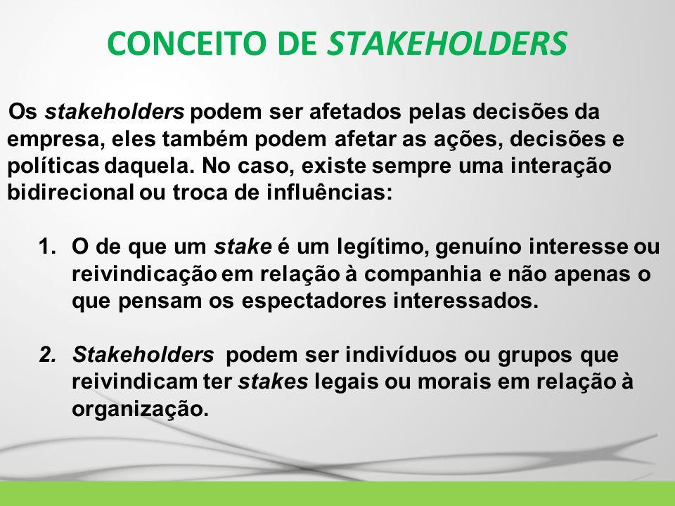 Os stakeholders podem ser afetados pelas decisões da empresa, eles também podem afetar as ações, decisões e políticas daquela. No caso, existe sempre