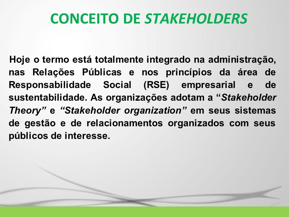 CONCEITO DE STAKEHOLDERS Hoje o termo está totalmente integrado na administração, nas Relações Públicas e nos princípios da área de Responsabilidade S