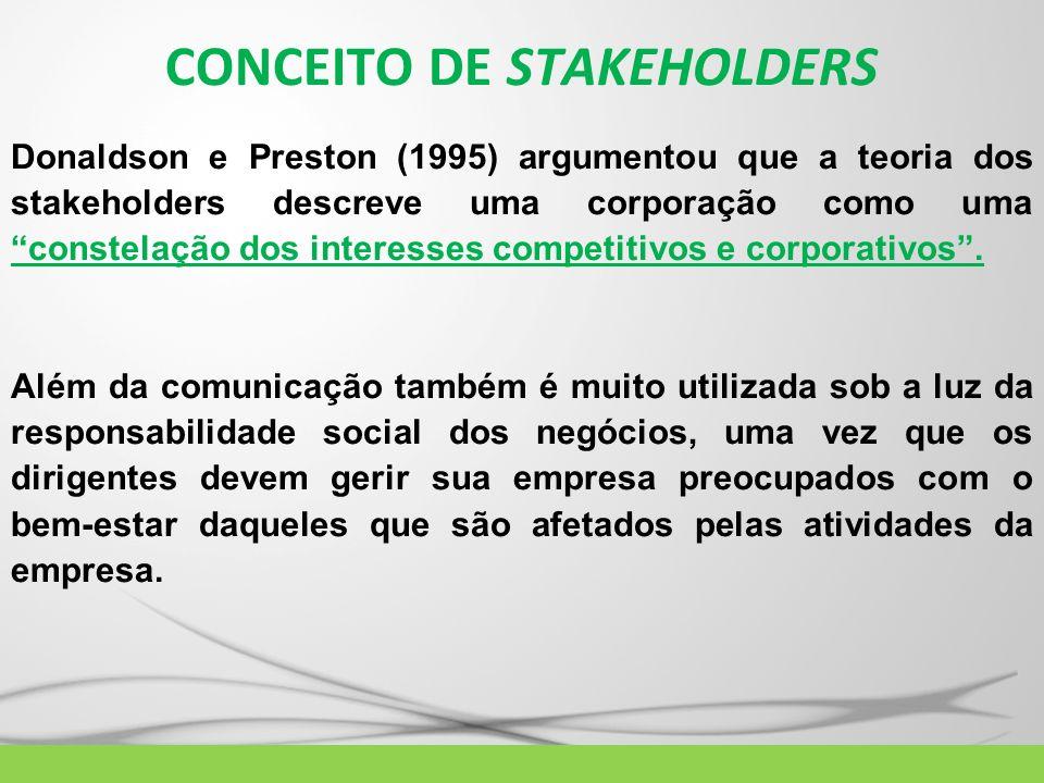 CONCEITO DE STAKEHOLDERS Donaldson e Preston (1995) argumentou que a teoria dos stakeholders descreve uma corporação como uma constelação dos interess