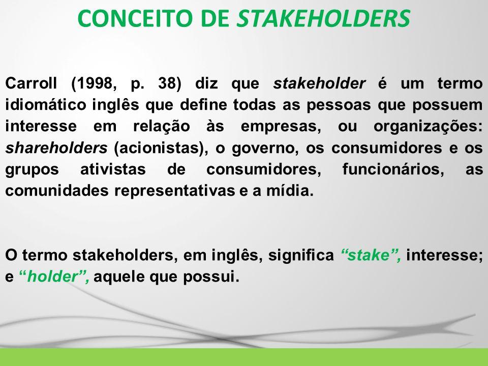 CONCEITO DE STAKEHOLDERS Carroll (1998, p. 38) diz que stakeholder é um termo idiomático inglês que define todas as pessoas que possuem interesse em r