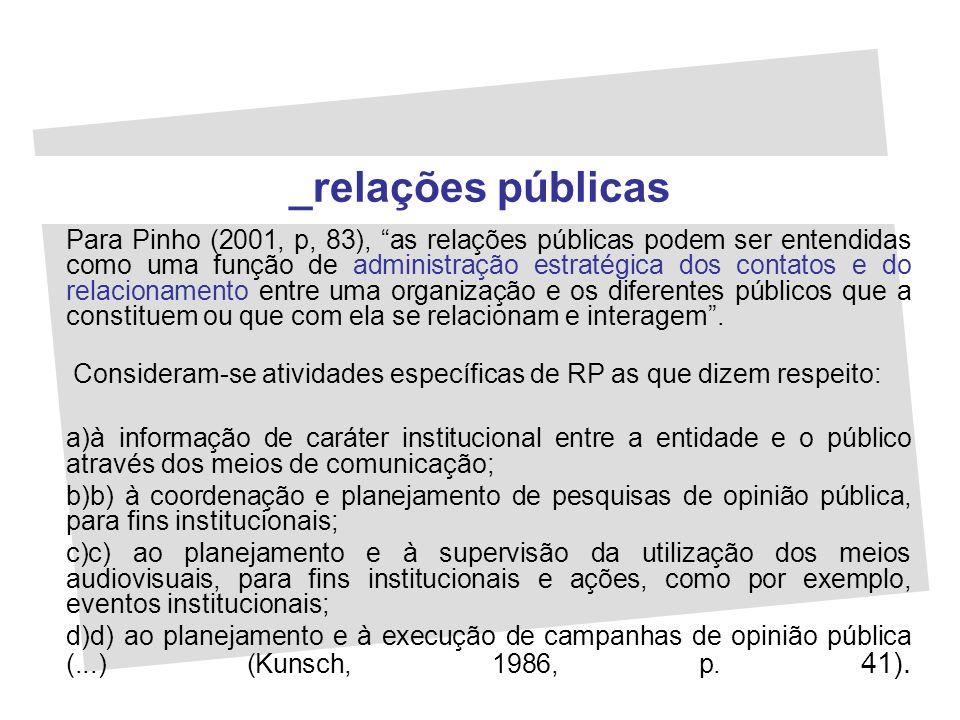Para Pinho (2001, p, 83), as relações públicas podem ser entendidas como uma função de administração estratégica dos contatos e do relacionamento entr