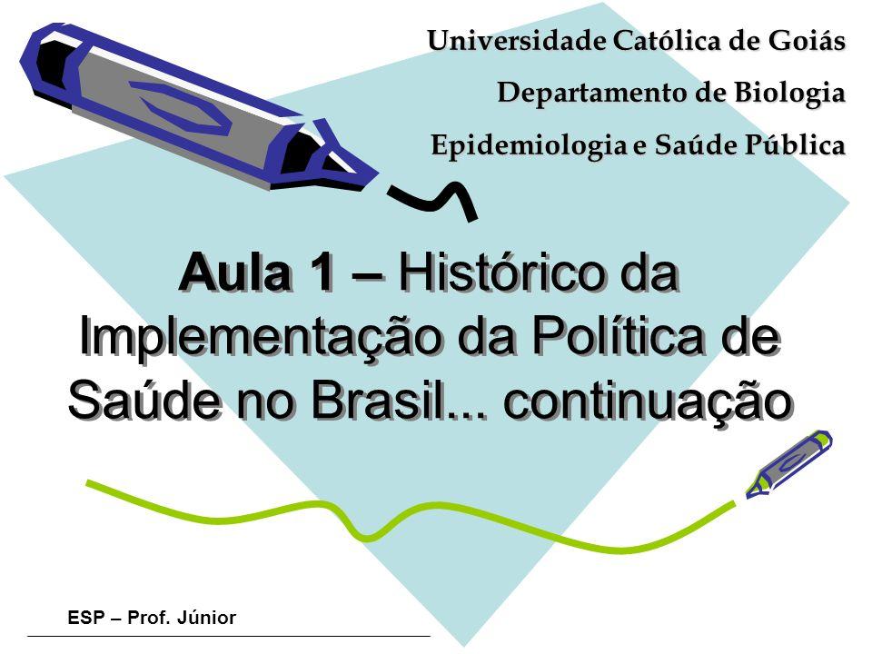 ESP – Prof. Júnior Aula 1 – Histórico da Implementação da Política de Saúde no Brasil... continuação Universidade Católica de Goiás Departamento de Bi