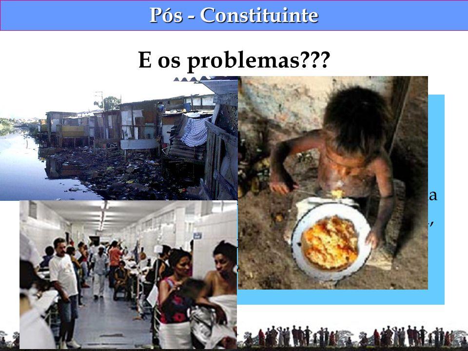 Pós - Constituinte Desigualdade social; Desigualdade regional; Subnutrição e falta de saneamento; Ainda assistimos a um processo que se perpetua pela