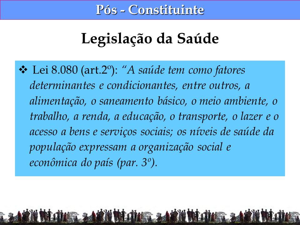 Pós - Constituinte Lei 8.080 (art.2º): A saúde tem como fatores determinantes e condicionantes, entre outros, a alimentação, o saneamento básico, o me