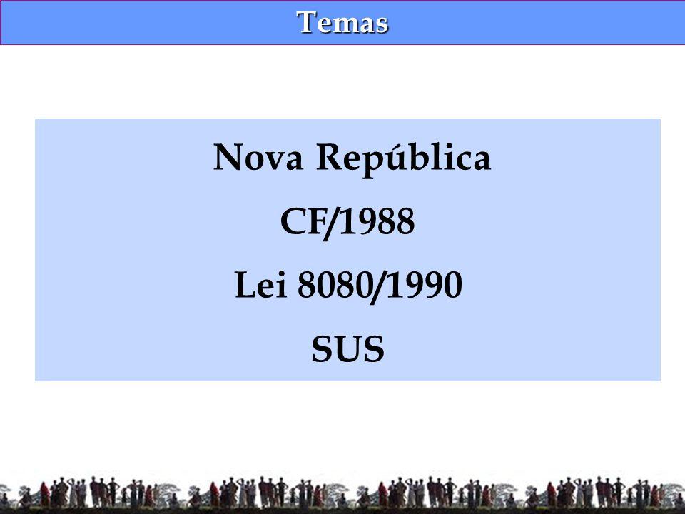 Temas Nova República CF/1988 Lei 8080/1990 SUS