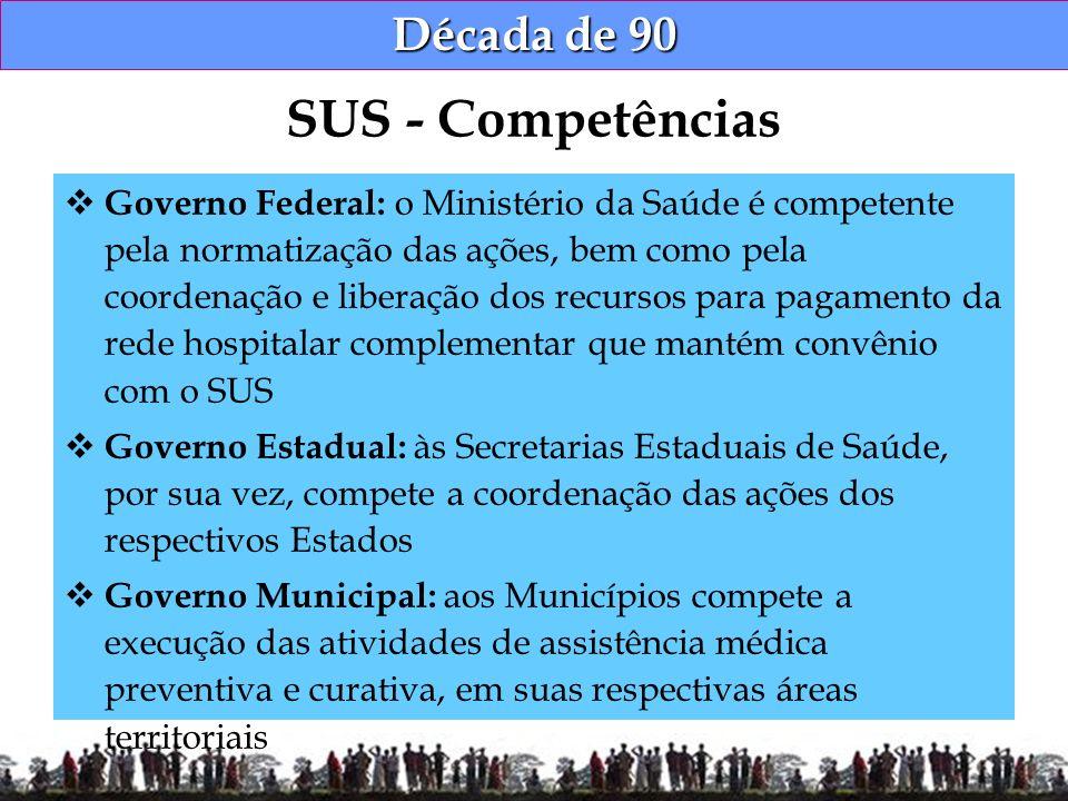 Década de 90 Governo Federal: o Ministério da Saúde é competente pela normatização das ações, bem como pela coordenação e liberação dos recursos para
