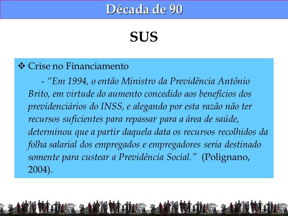 Década de 90 Crise no Financiamento - Em 1994, o então Ministro da Previdência Antônio Brito, em virtude do aumento concedido aos benefícios dos previ