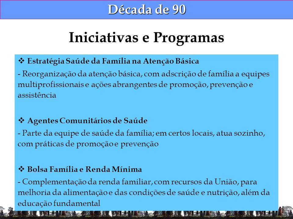 Década de 90 Estratégia Saúde da Família na Atenção Básica - Reorganização da atenção básica, com adscrição de família a equipes multiprofissionais e