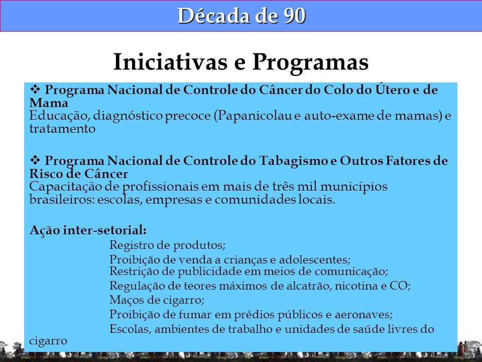 Década de 90 Programa Nacional de Controle do Câncer do Colo do Útero e de Mama Educação, diagnóstico precoce (Papanicolau e auto-exame de mamas) e tr