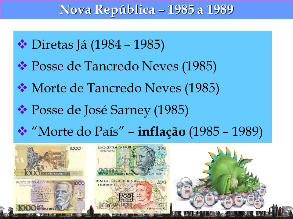 Nova República – 1985 a 1989 Diretas Já (1984 – 1985) Posse de Tancredo Neves (1985) Morte de Tancredo Neves (1985) Posse de José Sarney (1985) Morte